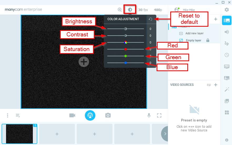 Webcam Color Adjustment