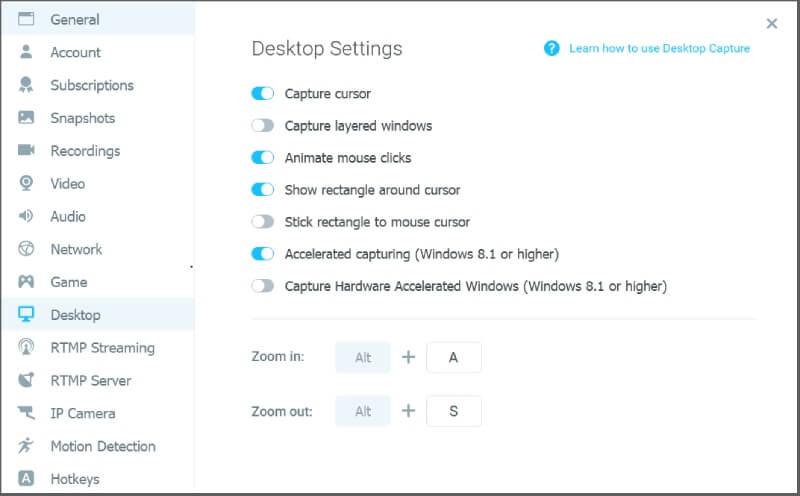 Manycam Desktop Settings
