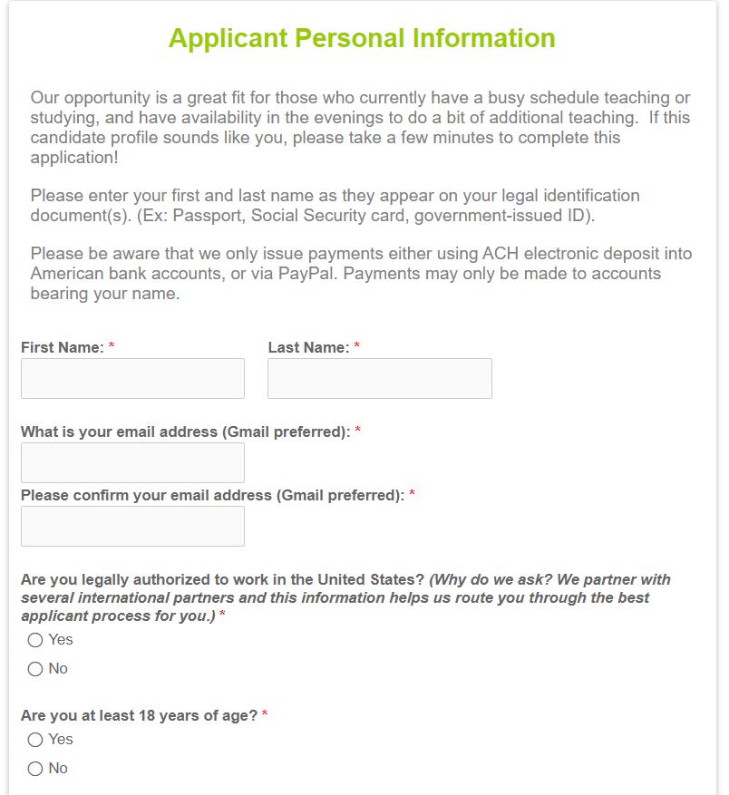 Open English Application