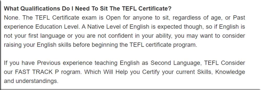 TEFL Certiifcate Qualifications